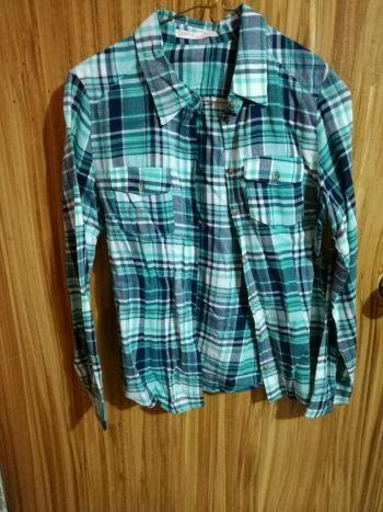 Camisa cuadros azul y turquesa