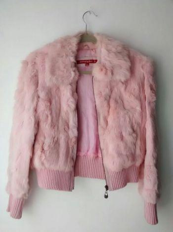 Abrigo rosa piel conejo