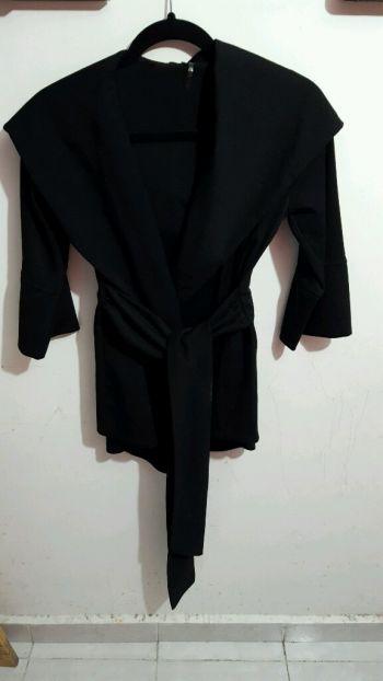 Abrigo cruzado negro M