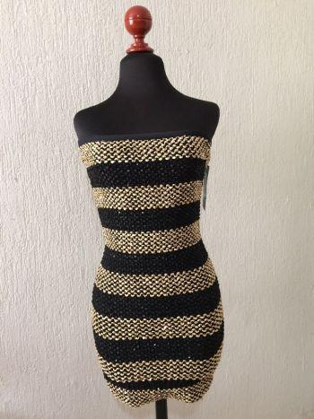 Vestido fiesta dorado/negro