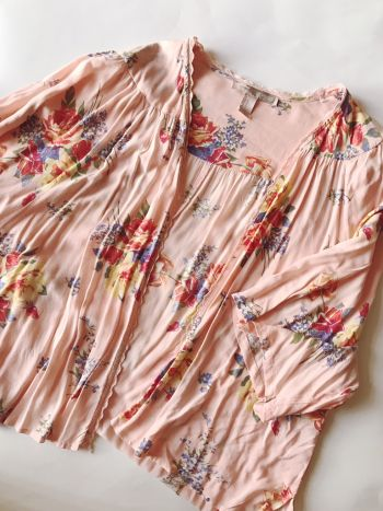 Kimono flores rosa