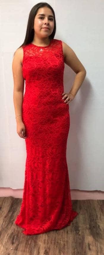 8311b78ce 1805-03 Vestido Rojo Encaje Largo - GoTrendier - 557751