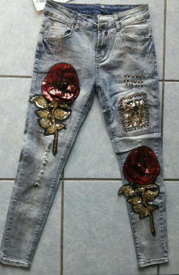 Jeans vintage con lentejuelas