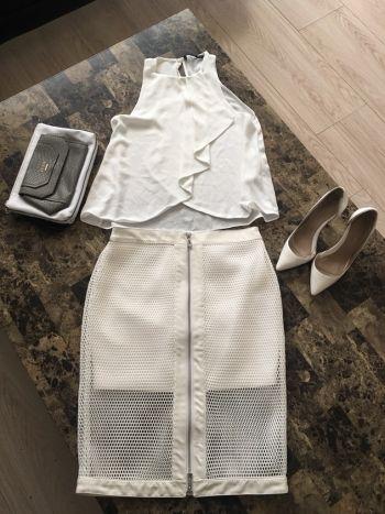 Falda rejilla blanca