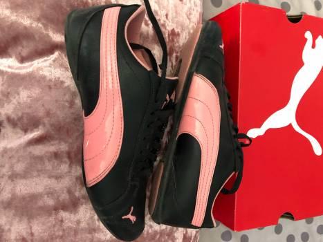 Tenis PUMA piel negro charol rosa sneakers
