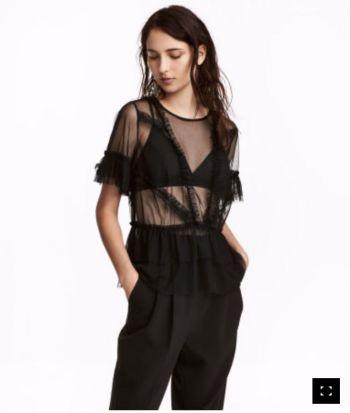 Mesh Ruffled top, H&M, nueva