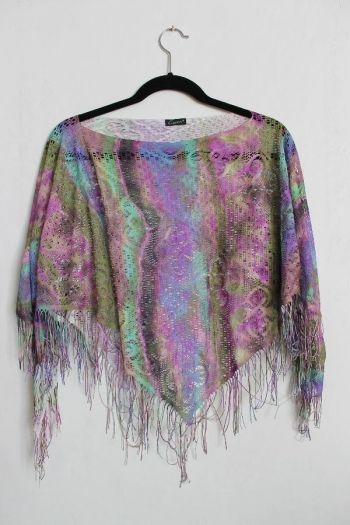 Poncho hippie tejido