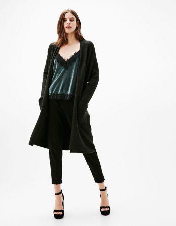 Abrigo largo negro bershka