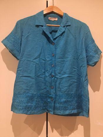 Camisa de lino bordada vintage