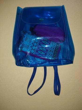 Mochila transparente azul
