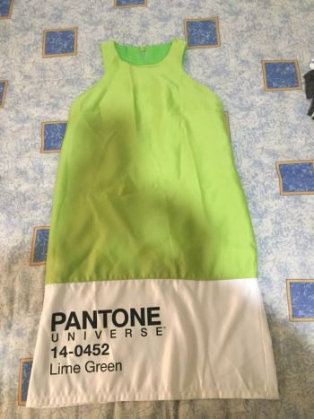 Vestido disfraz pantone verde limon