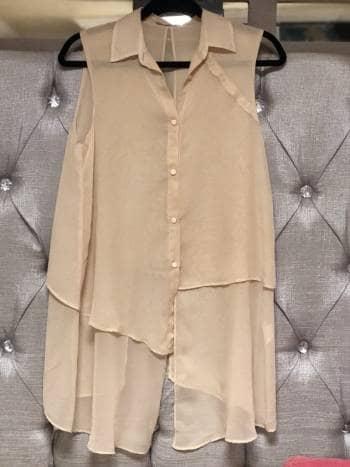 Maxi blusa asimetrica beige