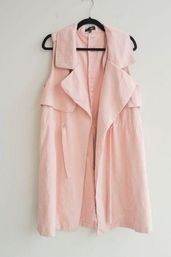 Chaleco largo rosa
