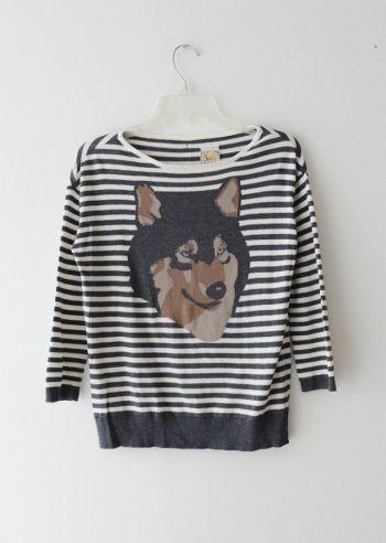 Suéter de rayas con estampado de lobo