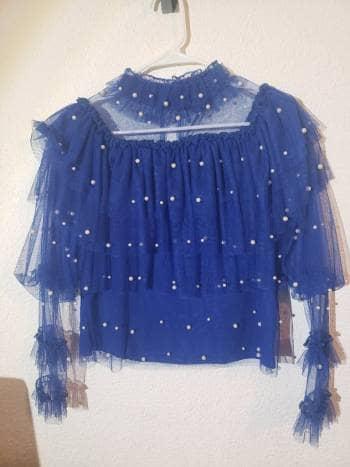 Blusa azul con perlas
