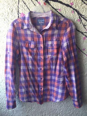 Camisa de cuadros lila pepe jeans