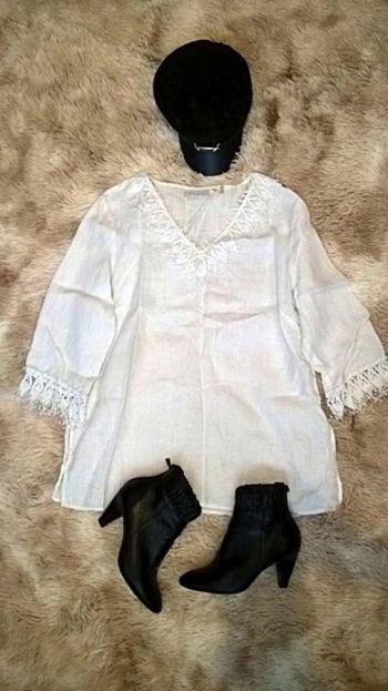 Blusón blanco con flecos