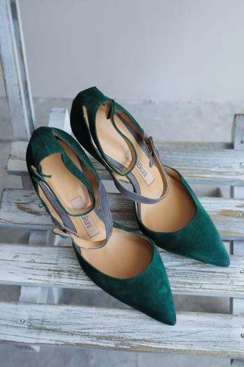 Zapatos de piel vierde
