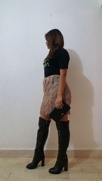 Minifalda golden pink de flecos
