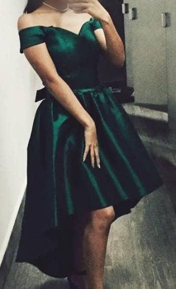 Vestido de gala verde jade