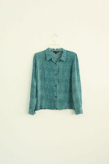 Camisa estampado cocodrilo verde