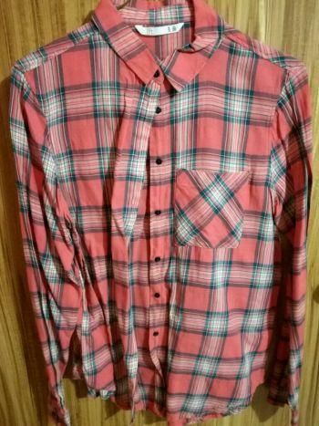 Camisa cuadros rosa y verde