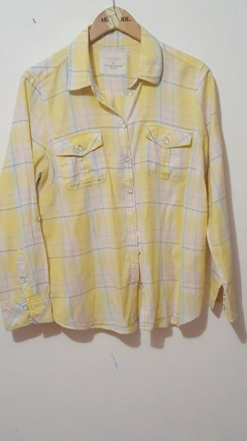 Blusa  amarilla a rayas tonos pastel