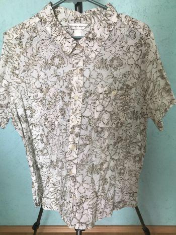 #011 Blusa fresca manga corta beige tropical