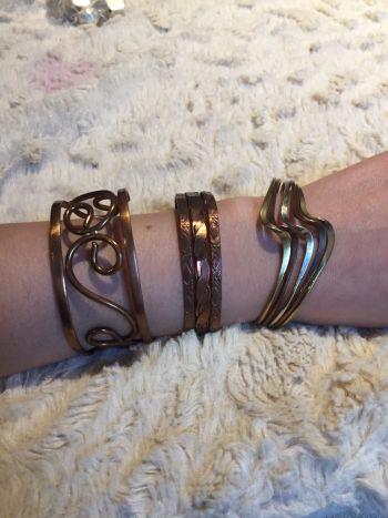 3 brazaletes de cobre