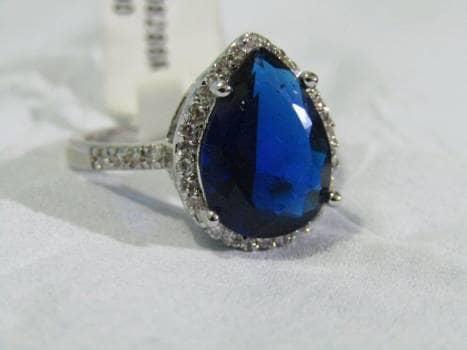 Anillo gota azul #8