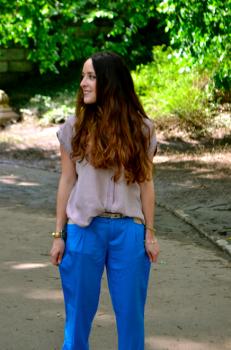 Pantalon de tela azul