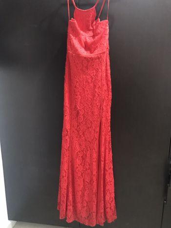 Vestido encaje rojo fiesta abierta halter sexy