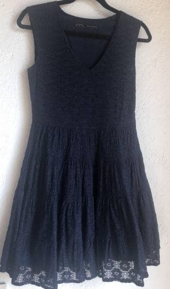 Vestido encaje Zara Basic Azul Marino