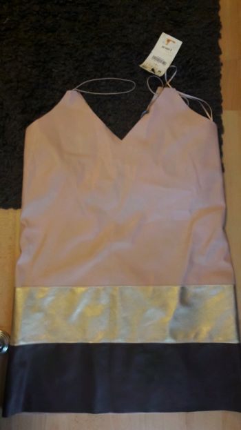 Vestido polipiel tricolor