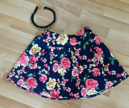 Falda corta flores