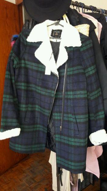 Abrigo en lana de tartan azul de Inglaterra