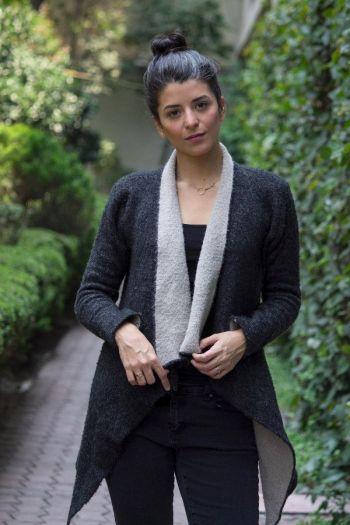 Abrigo gris y beige de Zara Knit