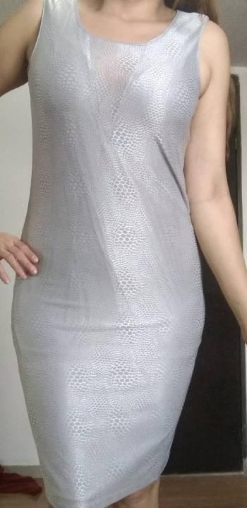 c0b6621b2 Vestido plata fiesta lapiz gris - GoTrendier - 1702998