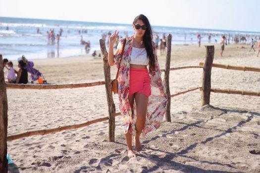 Shorts rosa con capa tipo falda