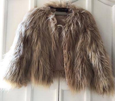 Zara Faux Fur abrigo de pelo sintetico