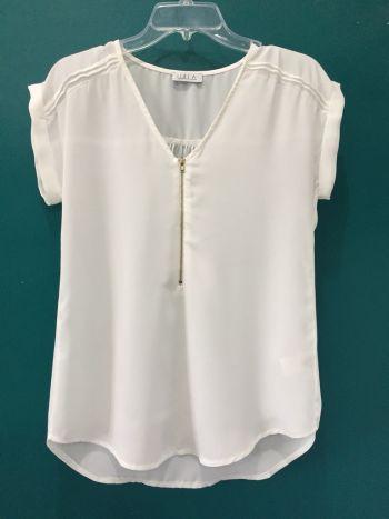 Blusa blanca con cierre
