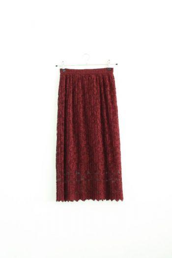 Falda larga color vino